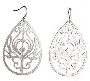 Image of Silver Peacock Earrings