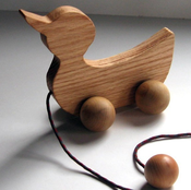 Image of Hand Crafted Wooden Pull Duck (Oak)