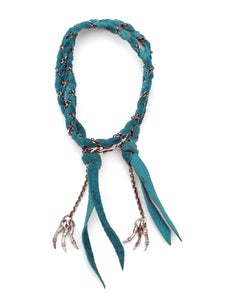 Image of double wrap suede and silver chain bracelet w/ 6 branch tassels (B04silsuede14)