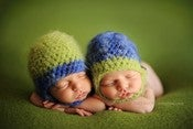 Image of Adorable Green/Blue Blue/Green Face Framing Beanies
