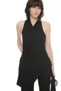 Image of (SOLD OUT) N24 - ULTRA-SOFT JERSEY BLEND DRAPED COWL NECK RACER BACK BOLERO TOP WITH EXTENDED LONG F