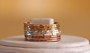 TRI COLOR: 14k rose / pink gold filled, yellow gold filled and sterling silver hammered stackable rings :  tricolor rings yellow sterling