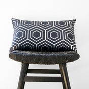Image of ATOM Silver on Blue Linen Cushion, Pillow Cover 50 x 30 cm
