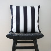 Image of BLACK WHITE STRIPES Cotton Cushion, Pillow Cover 45 x 45 cm
