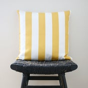 Image of YELLOW WHITE STRIPES Cotton Cushion, Pillow Cover 45 x 45 cm