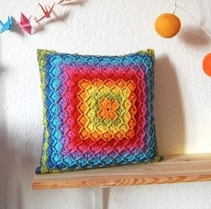 Image of Handmade crochet Rainbow pillow case cushion cover