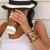 Image of NEW! leather cozy/cuff SNAP - mocha brown