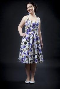 Image of 'Christine' dress - Cream with purple flowers - limited edition