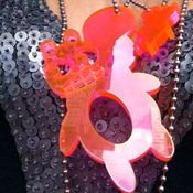 Image of Weather sKwirl™ Super Chunky Acrylic Pink Edge-glow Necklace