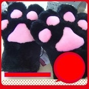 Image of Faux Fur Fluffy Cat Kitty Paws Mittens Gloves Costume Cosplay
