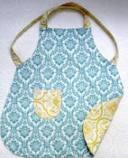 Image of Blue & Yellow Damask Children's Apron