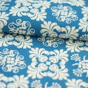 Image of Blue Damask Fabric
