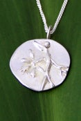 Image of Silver Medallion Necklace Blossom Branch, Beauty