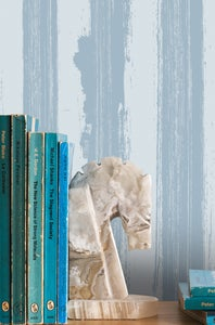 Image of Different Strokes Wallpaper - Powder Paint Blue