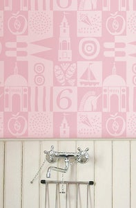 Image of Battery Square Wallpaper - Smoothie Pink