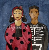 Image of Lady Bug Girl & Skeleton Boy PRINT