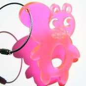 Image of Weather sKwirl™ Special Edition Beach Glass Pink Acrylic Key Ring/Necklace