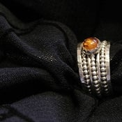 Image of Golden Honey Baltic AMBER and stackable sterling silver bold rings