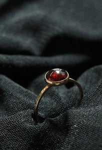 January birthstone Valentines Day GARNET in 14k gold filled stackable birthstone rings say I love you heart jewelry from handmadestackablerings.bigcartel.com