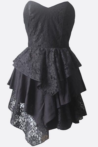 1950's Black Lace Mermaid Skirt Vintage Dress- M The Little Black