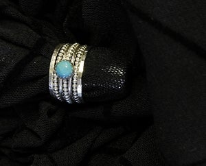 Image of Natural Nacozari turquoise set of sterling silver stackable birthstone rings