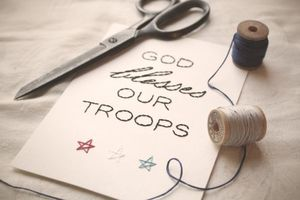 Image of God Blesses Our Troops Hand-stitched Signage 5x7 Framable Art