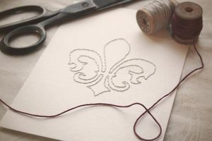 Image of Fleur de Lis Hand-stitched 5x7 Framable Art