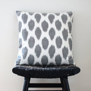 Image of Grey Dot Uzbek Ikat, Silk and Cotton Cushion Cover, Pillow, 45 x 45 cm, 18 inch