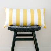 Image of YELLOW WHITE STRIPES Cotton Pillow Cover, Cushion 63 x 34 cm