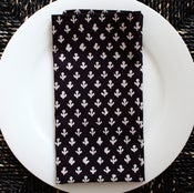 Image of Block Printed Cotton Napkins, Dark Navy and white, Set of 4