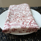 Image of  Block Printed Cotton Napkins, Red and White Vine, Set of 4