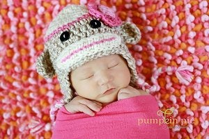 Image of Girl Sock Monkey Hat