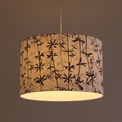 Image of Goose grass screen print on cotton lampshade 