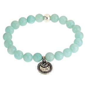 Image of Silver Lotus & Amazonite Bead Bracelet
