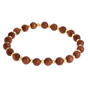 Image of Stone & Gold Nugget Bead Bracelet