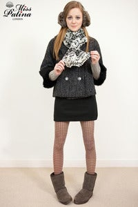 Image of Miss Patina Snowflake and Elk Print Scarf with Cotton Ball Fringe