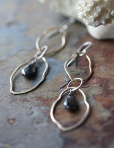 Image of Organic Black Garnet Earrings