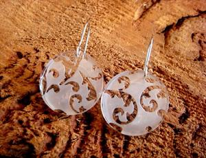 Image of Lace Perspex Earrings Round