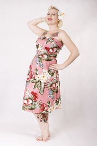 Image of 'Lucky Diamonds' dress - Antique Pink Hawaiian Barkcloth