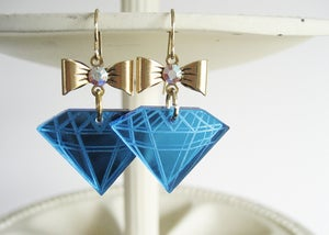 Image of La Petite Diamond Earrings - Blue