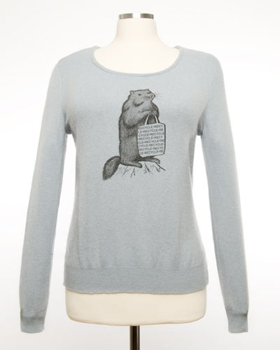 "Image of ""Mr. Chuck""  Womens Cashmere Sweater -   Slate Blue"