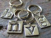 Image of Fine silver initial key chain