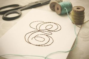 Image of Hand-Stitched Single Initial Monogram 5x7 Art