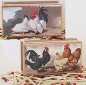 Image of Vintage Chicken Matchbox Bantam, Game Hen's & Spangled Polish