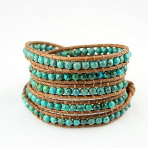 Image of Tropical. New. Turquoise five time Leather Wrap Bracelet.