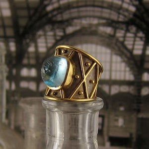 Image of Elizabeth Gage Gold & Aquamarine Ring