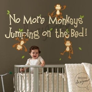 Image of No More Monkeys Jumping On The Bed - dd1028 Vinyl Sticker Wall Decal Kids Children Nursery