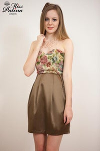 Image of Miss Patina Vintage Brocade Cocktail Dress (Brown Buttom)
