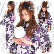 Image of Royal Purple Peony Japanese Kimono Pre-tied Obi Geta Sandals Set
