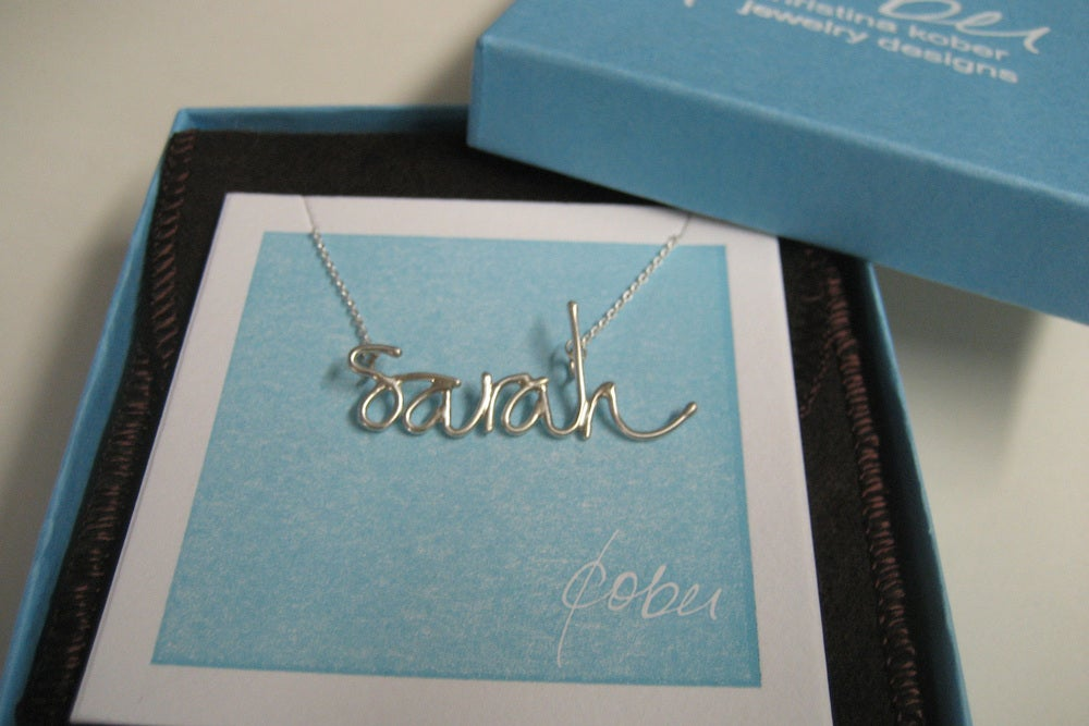 Image of sterling silver handwritten name necklace